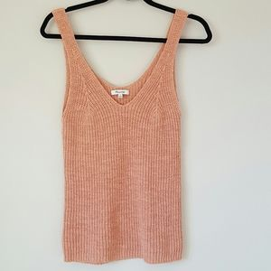 Madewell peach double v neck tank sweater